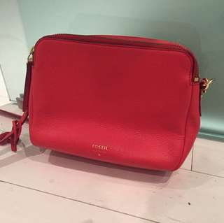 Fossil Pinkish/Red Crossbody (used twice)