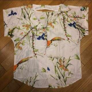 Birdy motif blouse