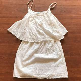 Free By Cotton On White Broderie Dress Size 14