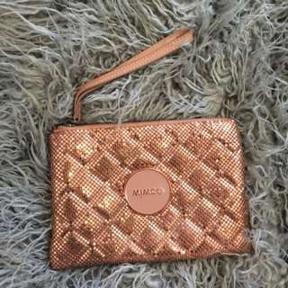 Mimco Rose Gold Mesh Pouch