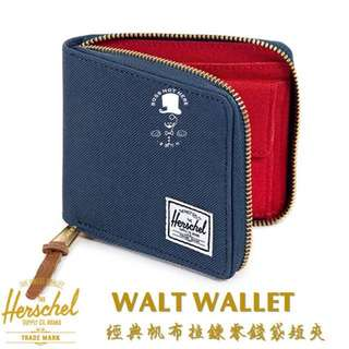 🚚 Herschrl短夾WALT WALLET 經典帆布拉鍊零錢袋短夾男錢包海軍藍/紅