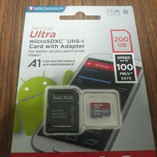 Sandisk 200GB SD card (100MB/S)
