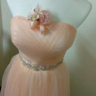 🚚 桃心領 粉橘伴娘禮服(含夾式胸花)