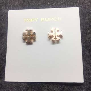 Tory Burch Logo Stud Earrings samlple 玫瑰金耳環