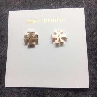 Tory Burch Logo Stud Earrings samlple 玫瑰金耳環