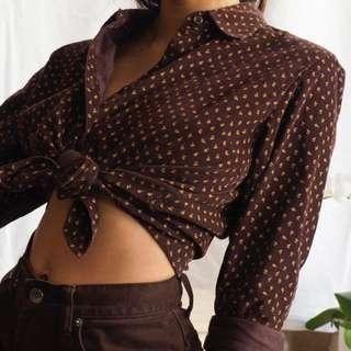 Corduroy brown vintage shirt tie up