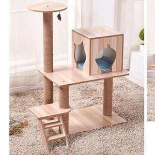 (NEW!) wood cat tree condo scratch pole bed