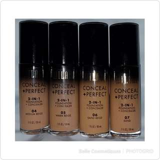 Milani 2in1 foundation + concealer  Medium beige, Warm beige, Sand beige, Sand. $17.90 each with normal mail