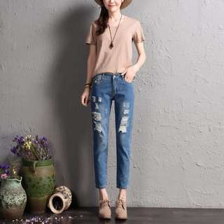 Casual Elastic Ripped Jeans
