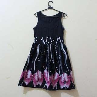 UNBRAND PINK RIBBON BLACK DRESS