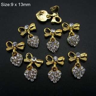 10pcs  Glitter Strass heart design nail gold alloy 3d nail art decoration bows chain for nail AM394