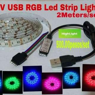 TV and monitor Back Lighting smd5050 5V usb plug Multi color RGB led strip lights