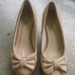 Beige Wedge Shoes