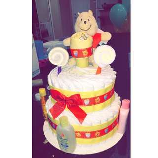 Winnie the Pooh tiered diaper cake!