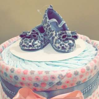 Baby girl one tier diaper cake with leopard shoes!