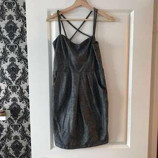 Dynamite Dress in Metallic Grey