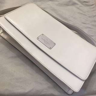 Braun Buffel white leather handbag