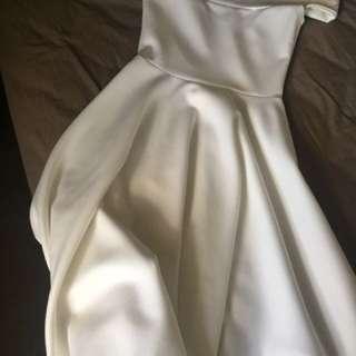 Boohoo ivory off the shoulder dress