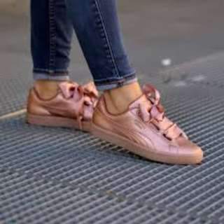 [Uk3-Uk7]BN authentic Puma satin basket heart pink coppers trainers