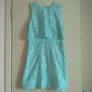 Topshop Petite Mint Aqua Lace Dress