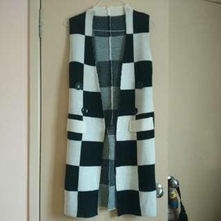 Funky Retro Checkered Long line Vest