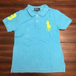Ralph Lauren Sportshirt in Aqua Blue color with Neon Yellow Embroidery sz 4/4T