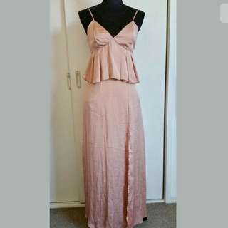 ASOS Petite sz 8 blush soft pink maxi dress peplum wedding party race formal