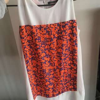 Mossman orange and white print dress