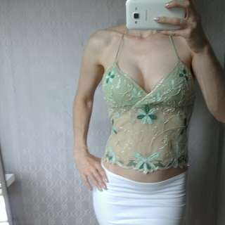 Festival top green beaded fit 6, 8, 10