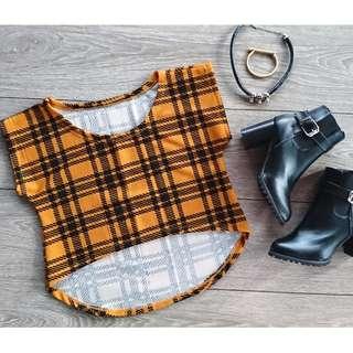 Crop top Yellow/Orange Black tartan plaid