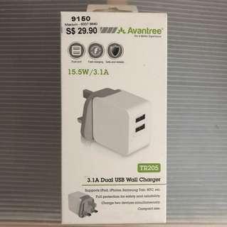 (BNIB) Avantree 15.5W/3.1A Dual USB Wall Charger.