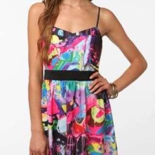 Watercolour silky mini dress