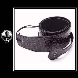 Black PU Leather Snake Skin Guitar Strap *Brand New*