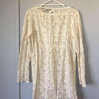 Womens Tree of Life Crochet Beige Lace Dress L
