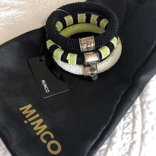 Mimco Bangle Stack Green, Black, White Jewellery