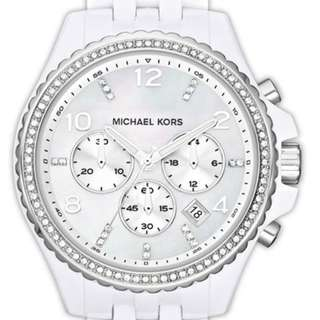 MICHAEL KORS/ White Ceramic Chronograph Watch