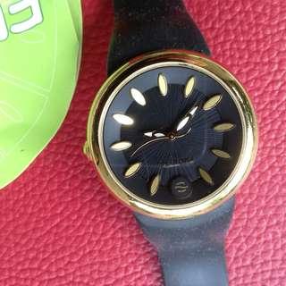 Frutz black and gold watch by Philip Stein