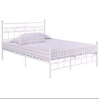 White Metal Double Bed, Bed Frame