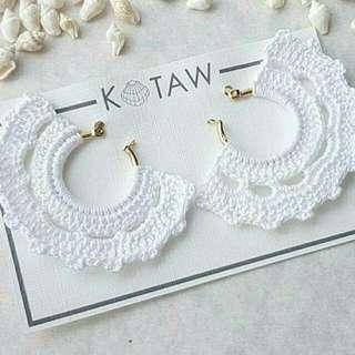 Tassel Earrings | Crochet - White