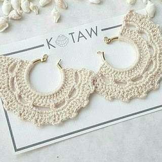 Tassel Earrings | Crochet - Beige