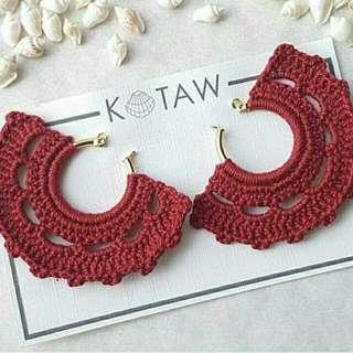 Tassel Earrings | Crochet - Red/Maroon