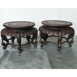 A pair of old chicken wing wood round table base, 旧鸡翅木圆桌型底座一对