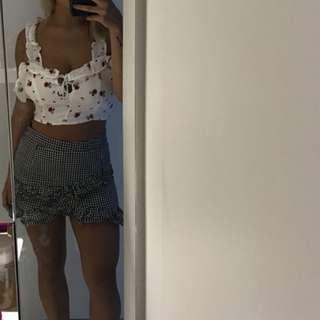 Gingham wrap mini skirt