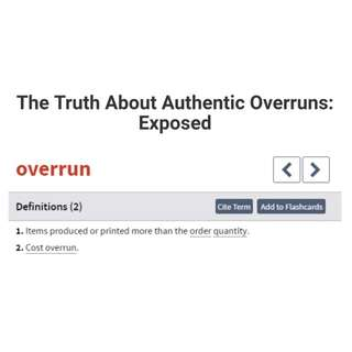 Truth About Authentic Overrun