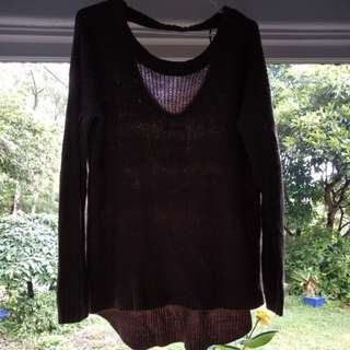 Knitted jumper open back