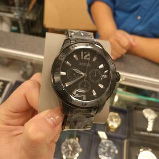 Fossil metal black face watch for men