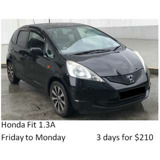 Weekend Car Rental Package Honda Fit 1.3A Friday-Monday 3days $210