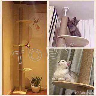 (NEW!)$90 Solid Pine Wood Ceiling Cat Tree Scratch Post