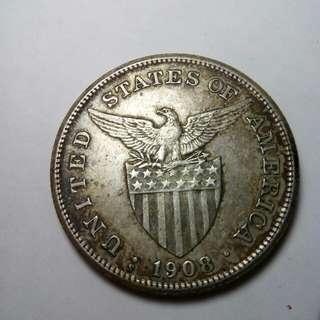Usphil 1908 s 1peso rare coins