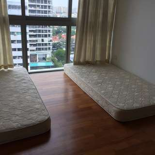 Queen Size Bed Frame and 2 Mattress